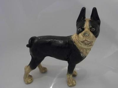 "Antique Vintage Painted Cast Iron Boston Terrier Bull Dog Door Stop   8"" Tall"