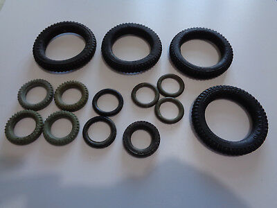 35  vintage mainly Meccano tyres. Some very large