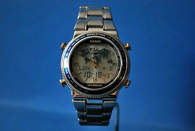 Vintage Casio/Japan 1326 Abx-61Q. W.time Map/Al/Timer/Chr/Data Bank. V.v. Rare*