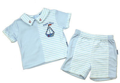 Baby boy Spanish style Romany 2 piece set Top shorts  blue   0-3 m 3-6 m 6-9 m