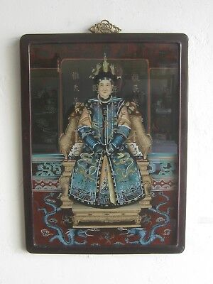 Fine Old Antique Chinese Painting Reverse Painted Glass Ancestral Empress BIG!