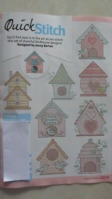 8  Birdhouse Designs full colour cross stitch charts by Jenny Barton