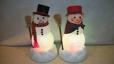 Vintage Avon Light Up Color Changing Chilly Sam & Samantha Christmas Snowman Iob