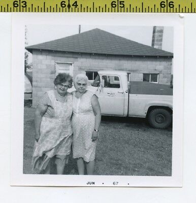 Vintage 1967 TRUCK photo / MOBIL GAS Pickup Stolen by Grannies in Apron & Scarf