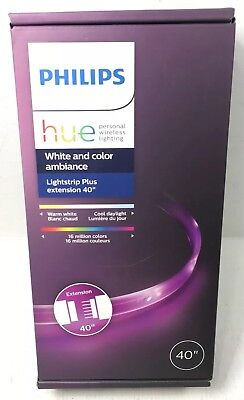 """New Philips Hue Lightstrip Plus 40"""" Extension - White & Color Ambiance (800268)"""