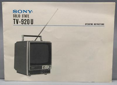 Vintage Sony TV-920U Television Instructions Manual