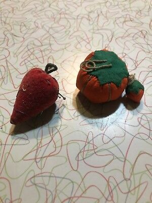 vintage small Tomato W/ Strawberry Attached  And StawberryPin Cushion