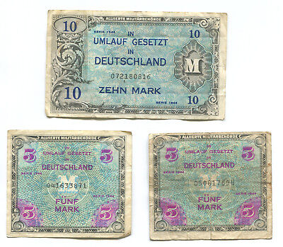 Germany 1944 LOT of 8 WW2 Allied Military Currency Notes 1 5 10 1/2 Mark