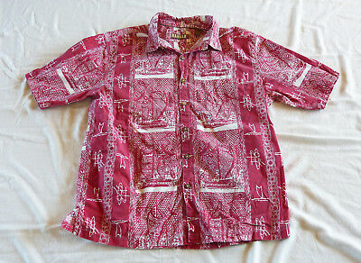 """Kahala 1936"" red boats Hawaiian shirt XL"