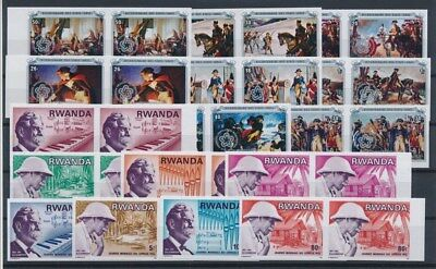 [G89603] Rwanda good imperforated lot Very Fine MNH stamps all in pairs