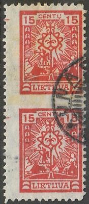 Lithuania 1923 Mi 188Umw Variety - Pair  imperforated between stamps, Used