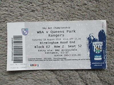 West Bromwich Albion v Queens Park Rangers 2018/19 Championship Used Ticket