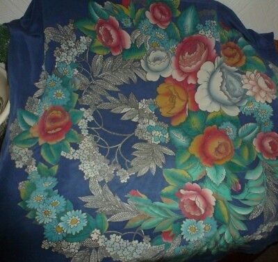 Vintage hand painted pure silk scarf 'Beautiful'