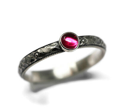 Created Ruby and Sterling Silver Stacking Ring US 6-10