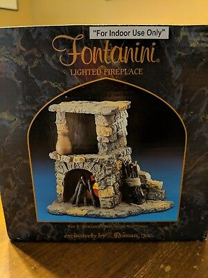 "Fontanini Heirloom Nativity, For 5"" Scale, Lighted Fireplace"