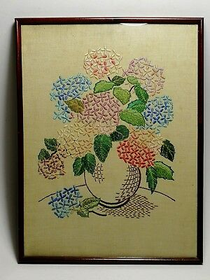 Vintage Framed hand embroidered linen panel floral design Jug of flowers