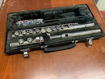 Yamaha YFL-225S Made In Japan Silver Plated Flute With Original Hard Case