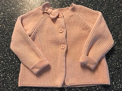 Janie And Jack KNIT BOW CARDIGAN, sweater, Carnation Pink, Size 4