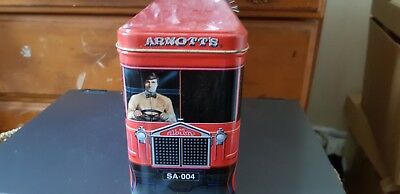 Collectable Arnotts  Biscuit Tin  Red Truck Hinged Lid. Good Condition.