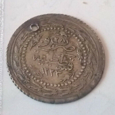 MAHMUD/1862AD/Rare Genuine Islamic billon coin/Ottoman Empire/Turkey Istambul 28