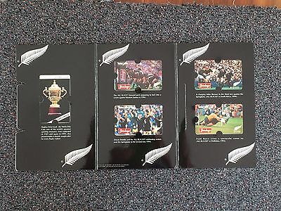 1995 Rugby World Cup The All Black Pack - 4 x $5 Phone cards - mint