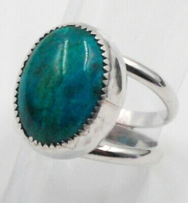 Sterling Silver Teal Blue Agate Stone Ring - Size 7 - Men's Women's - Classic