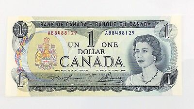1973 Canada 1 One Dollar AB Prefix Canadian Uncirculated Currency Banknote I426