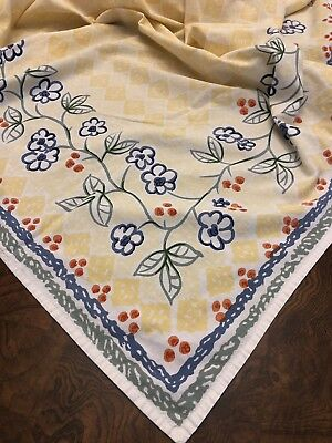 Vintage Printed Floral Kitchen Tablecloth 86 X 60 Blue Yellow Red Green White