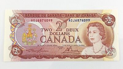 1974 Canada 2 Two Dollar AGJ Prefix Canadian Circulated Currency Banknote I427