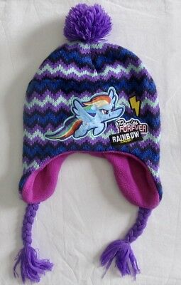 My Little Pony Rainbow Dash Girl/'s Winter Knitted Hat w// Ear Flaps NWT