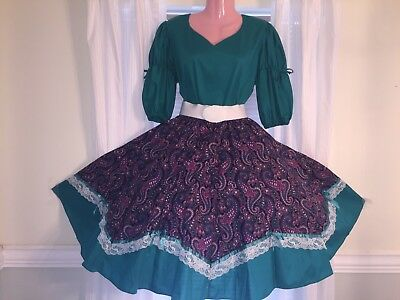 Square Dance Ladies Green Top & Paisley Skirt- Large / XL