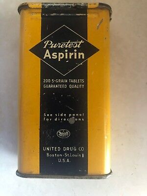 Vintage Medical Advertising PURETEST ASPIRIN TIN-Pain-Health-Can 200 Tablet Size