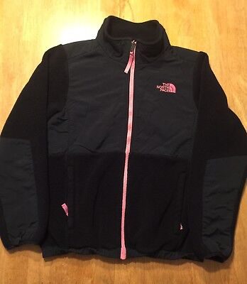 North Face Girls, Fleece Sweater Jacket, Size L 14/16, Black with pink zipper