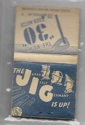 Vintage World War II full book matchbook 'The Jig Is Up' Hitler Mussolini Tojo