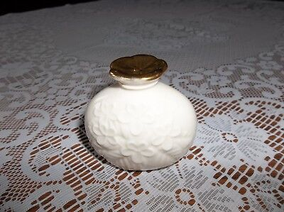 Lenox perfume bottle Essence collection cream embossed violets with gold lid New