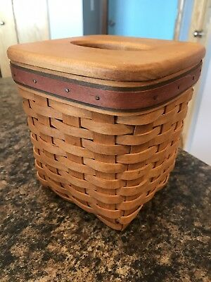 Vintage 1994 LONGABERGER Father's Day Tissue Basket 18490 w/ Liner - Made in USA