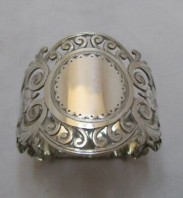 Antique Edwardian Sterling silver pierced napkin ring, 25g, 1909