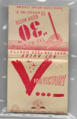 Vintage World War II full book matchbook 'V For Victory'