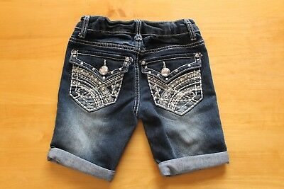 Mudd girls size 6 adjustable jean shorts with bling summer EUC