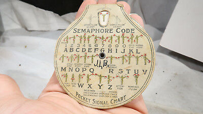 1917 Boy Scouts Cardboard Pocket Signal Chart Morse Code Chart