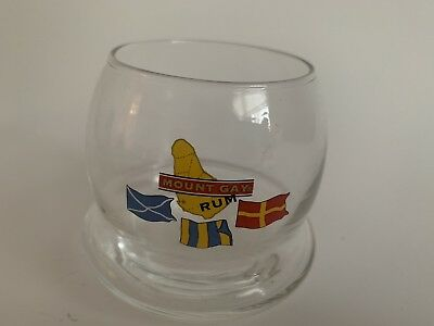 MOUNT GAY RUM Flags Roly-Poly Tipsy Tumbler Rocks GLASS Barware