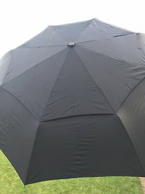 Balios Black Double Canopy Umbrella & Cover. Black Handle With Wood Strip.