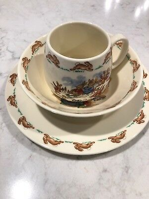 Vintage Royal Doulton Bunnykins English Bone China 3 Piece Set