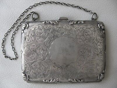 Antique Art Nouveau Floral Leaf Crest EPNS Silver Vanity Card Case Coin Purse