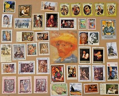 World wide postage stamps of art masters