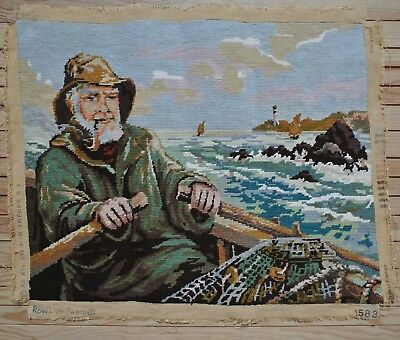 """Vintage Fisherman Sailor Man with Pipe at Sea Needlepoint Completed 22.5"""" x 18"""""""