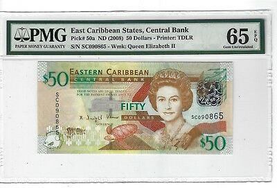 P-50a 2008 50 Dollars, East Caribbean States, Central Bank, PMG 65EPQ Nice