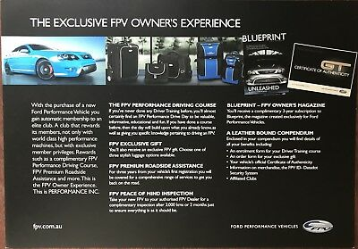 Ford Falcon FPV Owners Experience sales Brochure