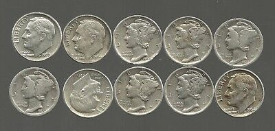 NICE Lot of 10, 1940's dates 90% Silver MERCURY/ROOSEVELT DIMES ($1 FV)