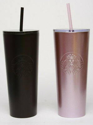 Starbucks Stainless Steel Cold Cup Tumbler 24oz 2018 w straw, Pink OR Black
